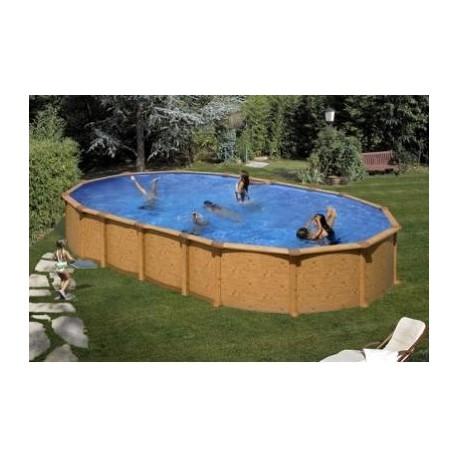 piscina fuori terra in acciaio effetto legno amazonia a