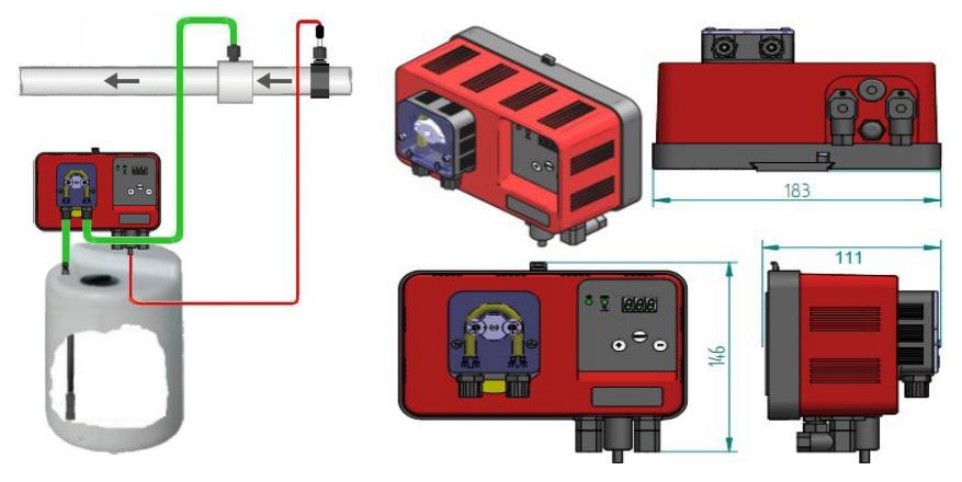 Schema di installazione pompa di dosaggio peristaltica MP1 pH