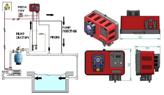 Schema di installazione pompa di dosaggio peristaltica MP1 REDOX