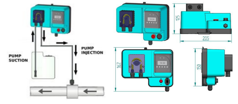 Schema di installazione pompa di dosaggio peristaltica MP1 TIMER