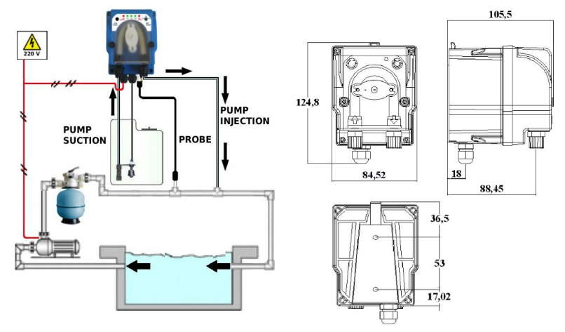 Schema di installazione pompa di dosaggio peristaltica MP2 SUMMER pH