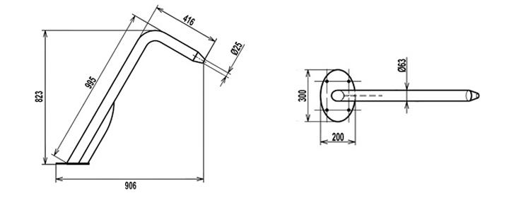 Dimensioni del cannone Ithaka circolare per piscina