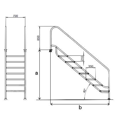 Scaletta per piscina accesso facile acciaio inox