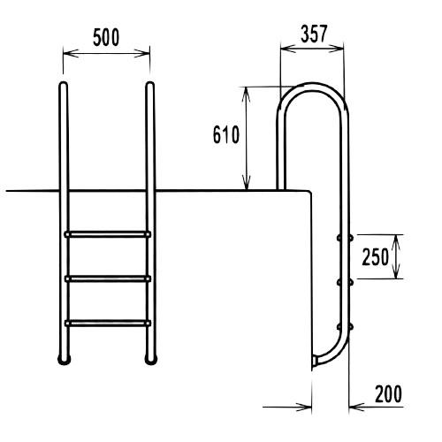 Dimensioni scaletta per piscina Chambord acciaio inox 316