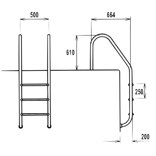 Dimensioni scaletta per piscina Trianon in acciaio inox 316
