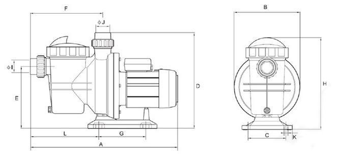 Pompe per piscina breton 550s con prefiltro dimensioni